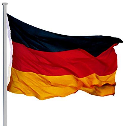 Deuba Aluminium Fahnenmast 6,50m inkl Seilzug inkl Deutschlandfahne Flaggenmast Mast Flagge Alu