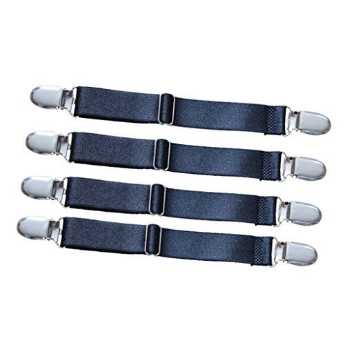 amagogo 4pcs Bett Blatt Halter Strap Clip Decken Elastische Greifer Strumpfband - 2 Köpfe schwarz - Bett-blatt