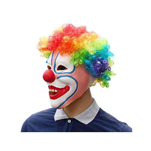Kostüm Kichert - CX TECH Horror Clownmaske unheimlich Latex Joker Deluxe Kostüm Kostüm gruselig kichert voll Gesichtsmaske Bunte Haare