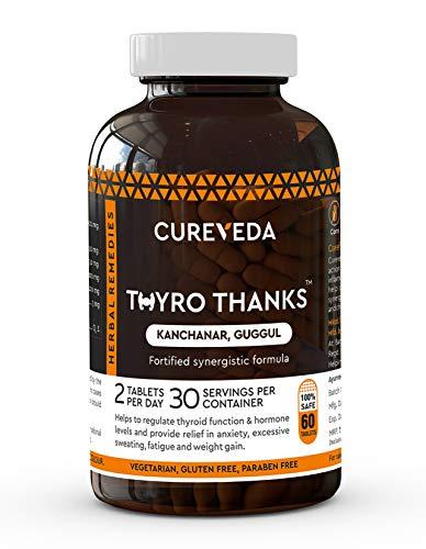CurevedaTM Herbal Thyro Thanks- Thyroid Support Supplement For Women's Health (60 Tabs)