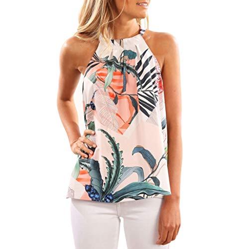only storerine 2019 Damenhemd, Mode ärmellose Neckholderkragenart einzigartiges Blumendruckweste-beiläufiges Hemd