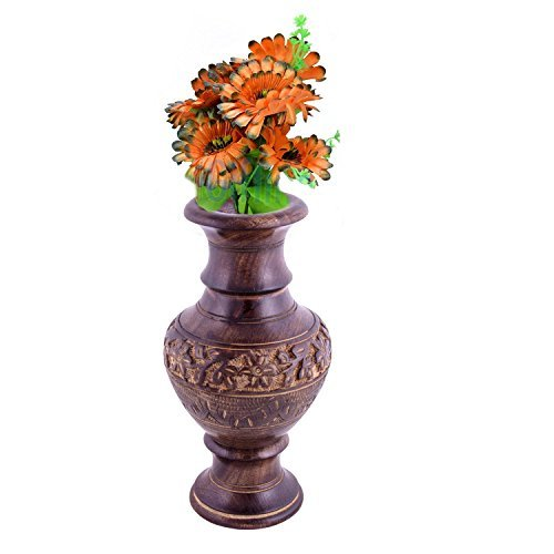 Vase en bois sculpté sculpture travail, 8X4 pouces, vases décoratifs, Pâques / fête des mères / cadeau du vendredi