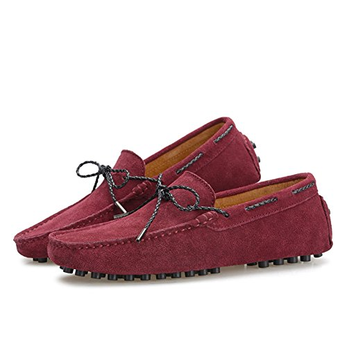 XiaoYouYu Moccassins Homme Suède Cuir Plats Slip-on Loafers Loisirs Chaussures de conduite Vin rouge