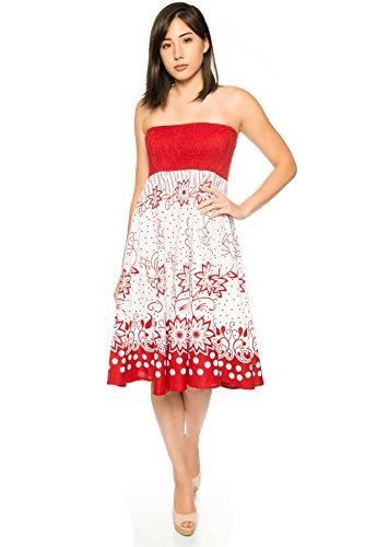 Pistachio, Damen 2-in-1 Kleid oder Rock für Sommer oder Urlaub Rot