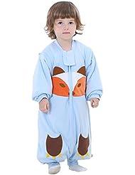 Happy Cherry 2 en 1 Pyjama Grenouillères Combinaison Enfant Bébé Fille Garçon - Sac de Couchage Imprimé en Coton Gigoteuse Épais avec Manches Amovibles pour Automne Hiver - 18-48 mois - 2 Couleur