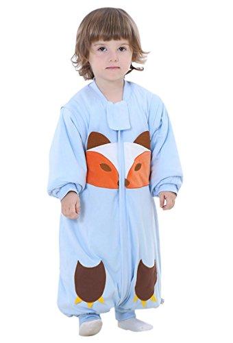 Happy Cherry Unisex Baby Schlafsack mit abnehmbare Ärmel Kind Baumwolle Overall Winter Pyjamas Mädchen Jungen Cartoon Fuchs Nachtwäsche Einteiler Schlafanzug für Kinderparty Asiatische Größe XL - Blau (Schlafanzug Cherry)