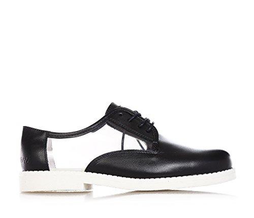 Emporio Armani ARMANI - Schwarze Schuhe aus Leder, mit Schnürsenkeln, auf der Zunge ein Metalllogo, Mädchen-34