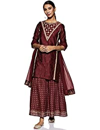 W for Woman Women's Rayon straight Salwar Suit Set (19AUWS12650-212570_ Maroon_ L (12))