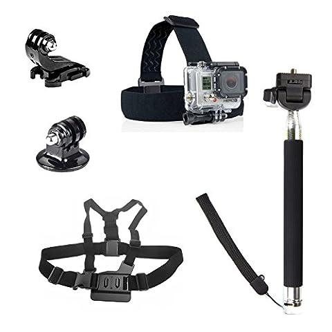 SAVFY à Set 5en1 Perche télescopique + Trépied Adaptateur + Harnais de poitrine avec adaptateur + Serre-tète pour Gopro Hero 1 2 3 3+ 4