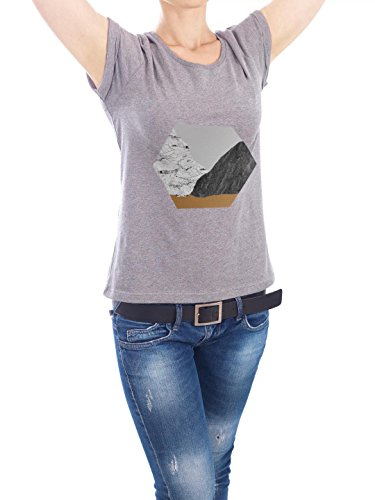 "Design T-Shirt Frauen Earth Positive ""Marble Octagon"" - stylisches Shirt Geometrie von Paper Pixel Print Grau"