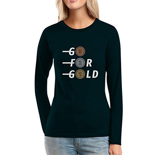 Go For Gold - Bronze, Silber, Gold Fanshirt Olympiade Frauen Langarm-T-Shirt Schwarz