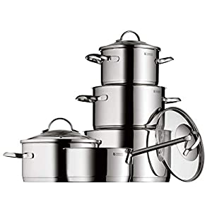 WMF Pot Set 5-Piece Provence Plus Pouring Rim Glass Lid Cromargan® Stainless Steel Polished Suitable for Induction Hobs Dishwasher-Safe