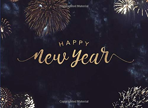 Happy New Year: 2019 New Year's Eve Fireworks Party Supplies Guest Book