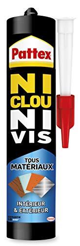 Pattex 1996234 Colle de Fixation Ni Clou Ni Vis Tous Matériaux Intérieur et Extérieur, Colle Blanche, Cartouche 450 g