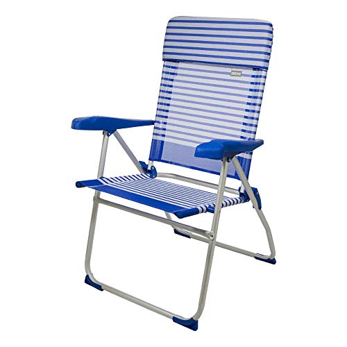Aktive 53981 Silla plegable aluminio con cojín para la playa, 7 posiciones...