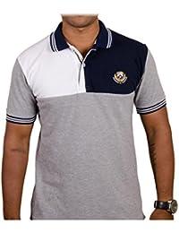 Men's Half Sleeve Polo T Shirt Regular Fit Cotton (White-Blue)