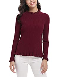 Abollria Pull Femme Chic Tricot sous-Pull Col Rond Dentelle Pull Basique  Top Femme à Manches Longues Hauts… 6678fdeb369f