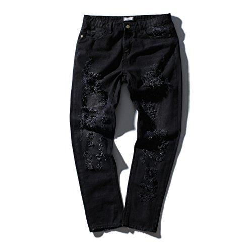 Honghu Uomo Semplice Rosa Ricamo Moda Fori Casuale Pants Pantaloni Jeans Nero
