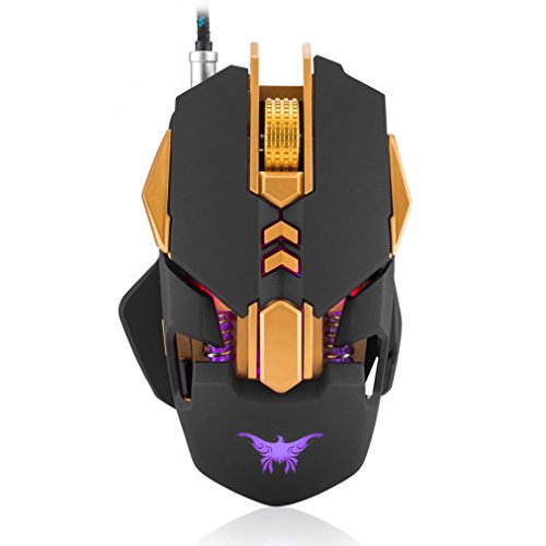 somesun Profi 7 Tasten Gaming Maus 3200 DPI USB 4 Farben Atmung LED Ergonomisches Design Komfortable halten OPTOELEKTRONIK opérate Maus Gaming Gamers schwarz schwarz -
