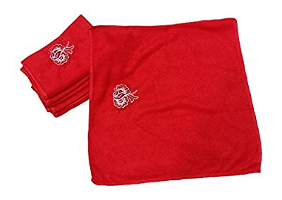 HARYANA CRAFT Women's Poly Cotton Red Silky Soft Love Touch Face Hanky (Red, 31x31cm) - Set of 6