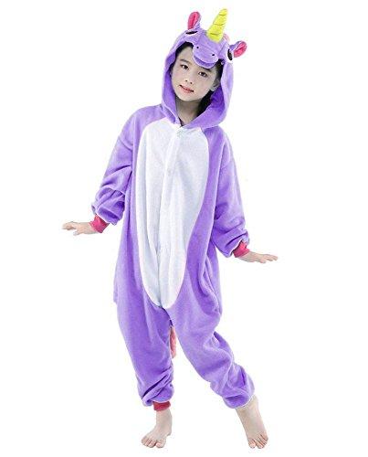 Kinder Pyjamas Tier Einhorn Jumpsuit Nachtwäsche Unisex Cosplay Kostüm für Mädchen und Jungen (85/Größe:95-105cm, Violett)