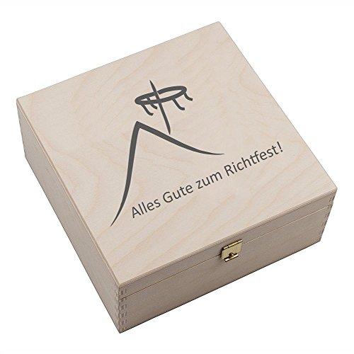 4you Design Hufeisen-Box mit MotivAlles Gute zum Richtfest (Hausdach und Richtkranz) Geschenkidee Hausbau Glücksgeschenk