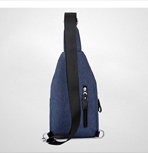 LAIDAYE Beiläufige Wasserdichte Nylon Männer Schulter Umhängetasche Business-Paket Umhängetasche Brustbeutel Blue