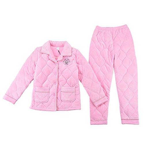 OHmais Unisexe Femme Homme 2 pièces traditionnels Ensemble pyjama avec Pantalon Costume combinaison pyjamas vêtement hiver Rose