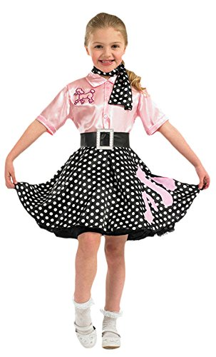 erdbeerloft - Mädchen Karneval Kostüm Kleid Rock\'n\'Roll Girl, Rosa, Größe 140-152, 10-12 (Girl Kostüm Rock Roll)