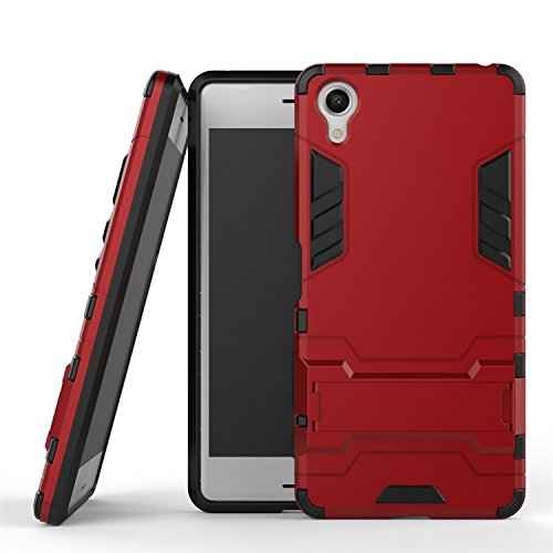 Sony X Führen Fall, 2 In 1 New Armour Tough Art Hybrid Dual Layer Rüstung Defender PC Hard Cases Mit Ständer Stoß- Fall Für Sony X Perform ( Color : Blue Black , Size : Sony X Perform ) Red
