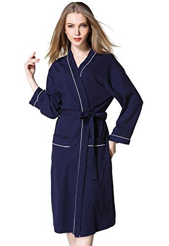 ALICECOCO Damen Baumwoll Blumen Kimono Kleider Kleider Krawatte Taille Robe Nachtwäsche Nightgown Navy Blau