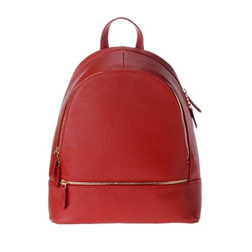 Zaino donna pelle stile elegante università tempo libero made in Italy DUDU Rosso lacca