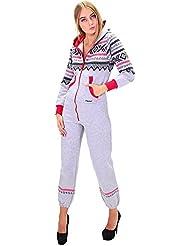 Sportlicher DSguided Norwegen Muster Onesie Jumpsuit Overall Einteiler Grau