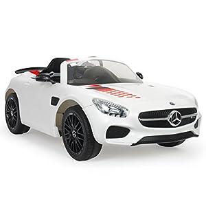 INJUSA Coche Mercedes Benz GT-S de 12V con Control Remoto y Cambio de Marchas para Niños de 3 Años, Color Blanco (7173)
