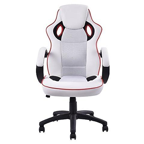 Chaise de bureau PU Racing siège sport fauteuil de direction baquet pivotante simili hauteur réglable