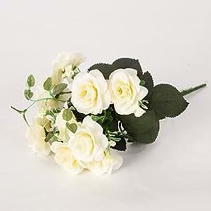5 Ast da Bouquet di seta fiori artificiali rosa Rosebud con le foglie per la decorazione d'interni, bianco