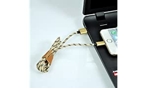 ProjectsforSchool Projectsforschool Weave Lightning USB Data Cable Charger Compatible for Apple iPhone 5/5C/5S/6/6 Plus/Ipad Air/Ipad Air 2/Ipad Mini 2 (Gold Color)