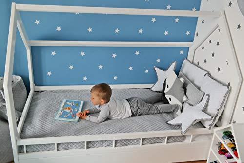 Solenzo - Lit cabane pour Enfant avec sommier et barrière (Blanc, 80x160cm)