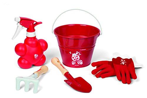 Janod-03236-Mini-Pouss-Garten-Spielset-5-teilig-Inhalt-Eimer-Handtasche-Spaten-Rechen-Sprhflasche-cocci-rot