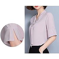 TAIDUJUEDINGYIQIE Camiseta de manga corta para mujer Camisa Slim Dress, Rosa, 2XL
