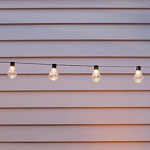 Guirlande Lumineuse Guinguette Solaire avec 10 Boules LED Blanc Chaud