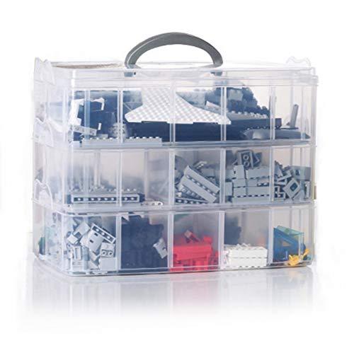 Isoto 3 vassoi 30 divisori scomparti scatola portaoggetti con separatori, stoccaggio contenitore per salvare perline di plastica trasparenti e regolabili,box assortment,25,8 * 16,8 * 18,5 cm