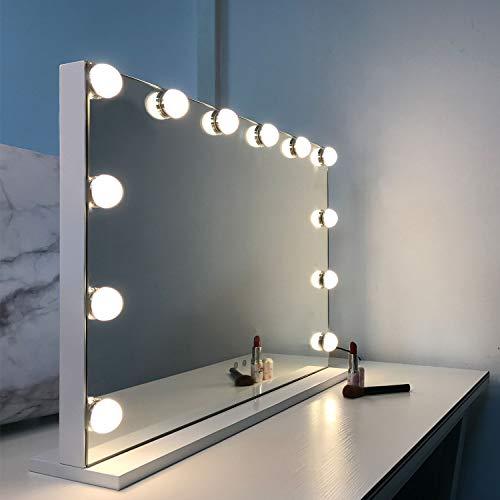 WAYKING Hollywood Spiegel Make-up-Spiegel mit LED-Lichtern, Touch-Steuerung, großer Kosmetikspiegel mit Dimmer-LED-Leuchten, Kosmetikspiegel mit Beleuchtung, Schminkspiegel mit 12 Lichter, Weiß