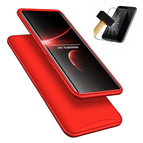 Oppo Find X Hülle, LaiXin 360 Grad Handyhülle Ultra Dünn PC Plastik Anti-Kratzen Schutzhülle Schutz Case für Oppo Find X 2018 - Rot