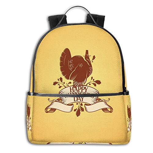 College Backpacks for Women Girls,Brown Turkey Silhouette Sitting On A Celebratory Banner with Rural Flowers,Casual Hiking Travel Daypack
