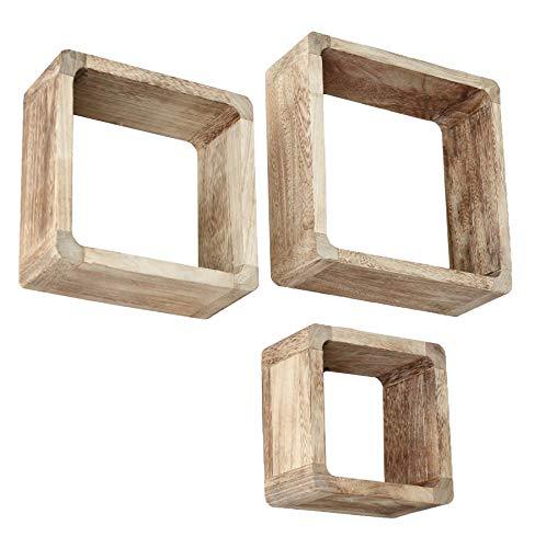 Jeu de 3 Lounge Cube étagère style maison de campagne étagère murale étagère cubiques en bois massif en marron clair