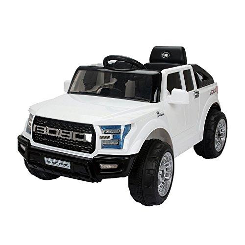 homcom Macchinina Elettrica Modello Jeep per Bambini: 3-8 Anni Cintura di Sicurezza, Luci e Musica Certificati CE, EN71-1-2-3, EMC, EN62115 Bianco