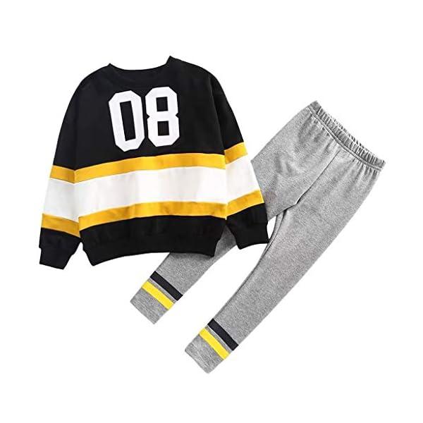 Tefamore Conjuntos Ropa Bebé Niños Moda Patchwork Rayas Camiseta Tops + Pantalones Conjuntos 1