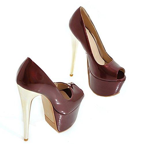 ENMAYER Frauen Lackleder Sexy Plattform Stiletto Super High Heels Runde und Peep Toe Pumps Slip auf Hochzeitskleid Court Schuhe 34 B(M) EU Rotwein#21