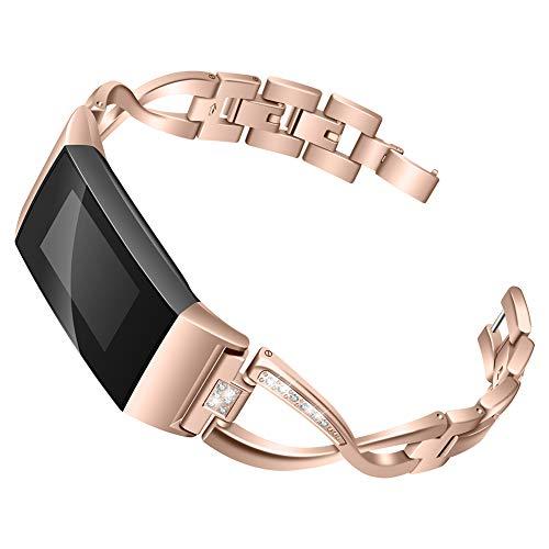 AchidistviQ Big X Strass Uhrenarmband Armband Zubehör Dekoration für Fitbit Charge 3 Rose Gold